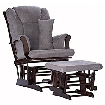 Pemberly Row Custom Glider and Ottoman in Espresso and Grey