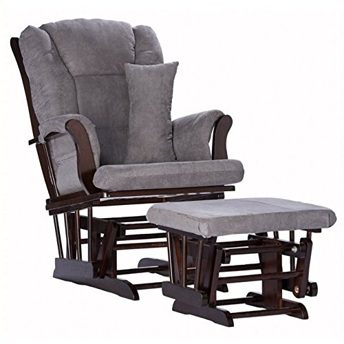 Pemberly Row Custom Glider and Ottoman in Espresso and Grey by Pemberly Row