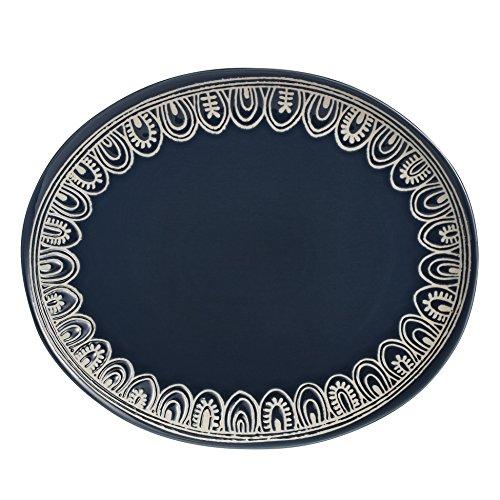 overandback 811250 Medallion Oval Platter, Teal