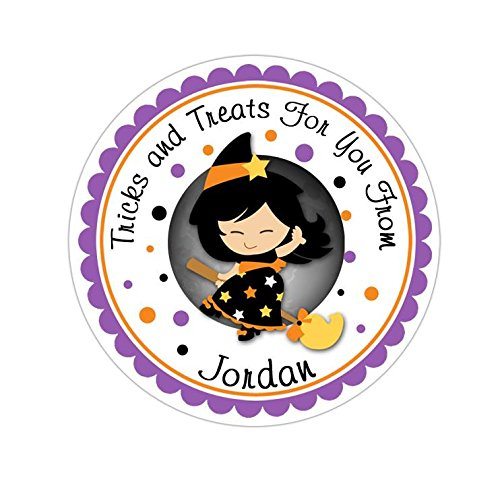 HALLOWEEN PARTY PERSONALIZED ROUND STICKERS FAVORS BLACK WITCH ~ VARIOUS SIZES