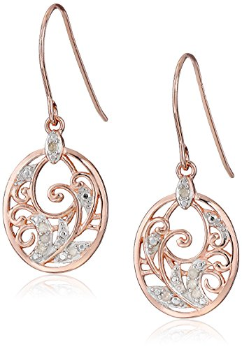 Cut Diamond Dangle Earrings - 14k Rose Gold Plated Sterling Silver Diamond Accent Filigree Dangle Earrings (1/10cttw, I-J Color, I2-I3 Clarity)
