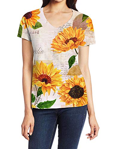 Illustration Girl T-Shirts, Elagent Sunflower with Newspaper Backdrop 3D Art Print Casual Tops for Women V-Neck Tees, M