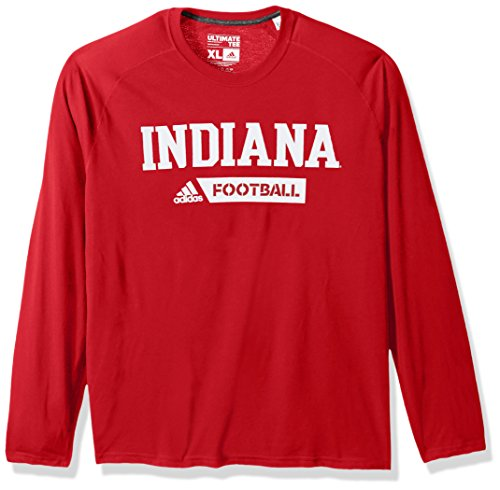 NCAA Indiana Hoosiers Adult Men Sideline Gridiron Ultimate L/S Tee, Medium, Victory Red (Victory Red Irons)