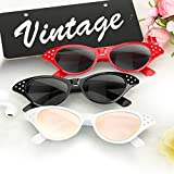 Cat Eye Sunglasses 3 Pack Elimoons 50s Glasses with Rhinestones Various Colors