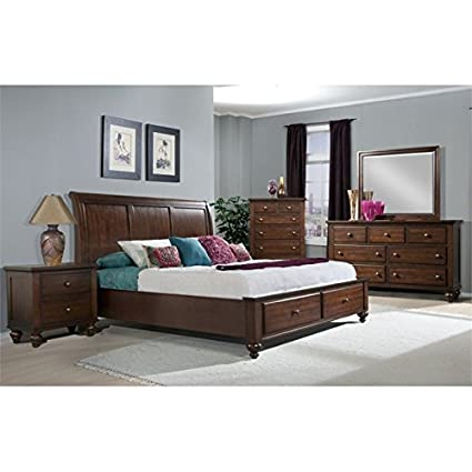 Amazon.com: Elements Channing 6 Piece Queen Bedroom Set in Cherry ...