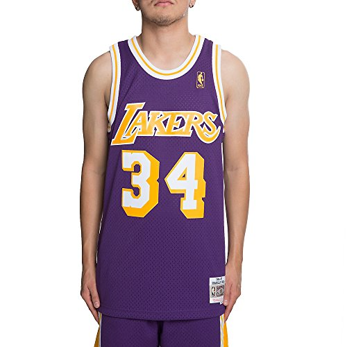 Shaquille O'Neal Los Angeles Lakers NBA Mitchell & Ness Purple 1996-97 Hardwood Classics Swingman Jersey For Men (XL) ()