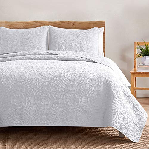 VEEYOO Bedspread Quilt Set Full/Queen Size – Soft Microfiber Lightweight Coverlet Quilt Set for All Season, Quilt Set 3 Piece (1 Quilt, 2 Pillow Shams), White