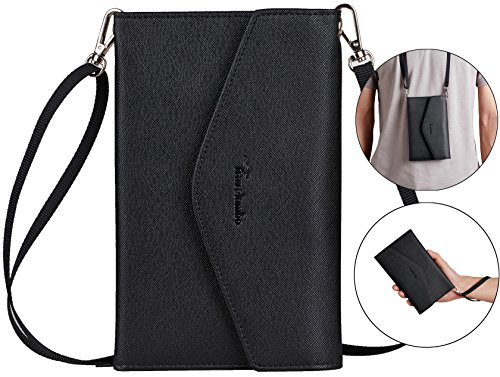 Travelambo Rfid Blocking Passport Holder Wallet & Travel Wallet Envelope 7 Colors (black with neck/wrist strap)