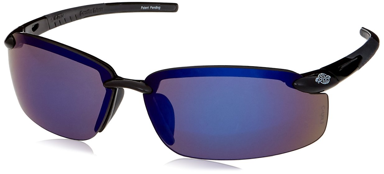 Crossfire Blue Mirror Safety Glasses, Scratch-Resistant, Frameless