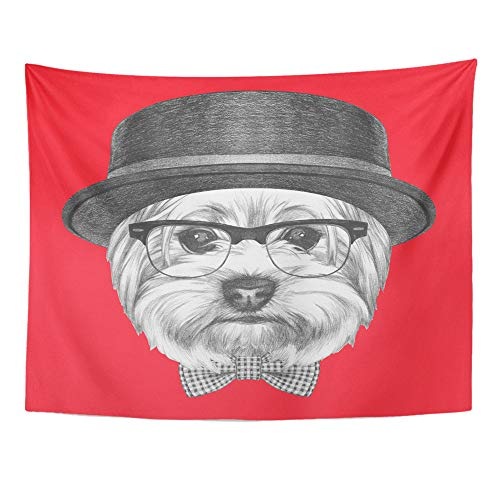 Emvency Tapestry Wall Hanging Portrait of Hipster Dog Yorkshire Terrier with Sunglasses Hat and Bow Tie 60