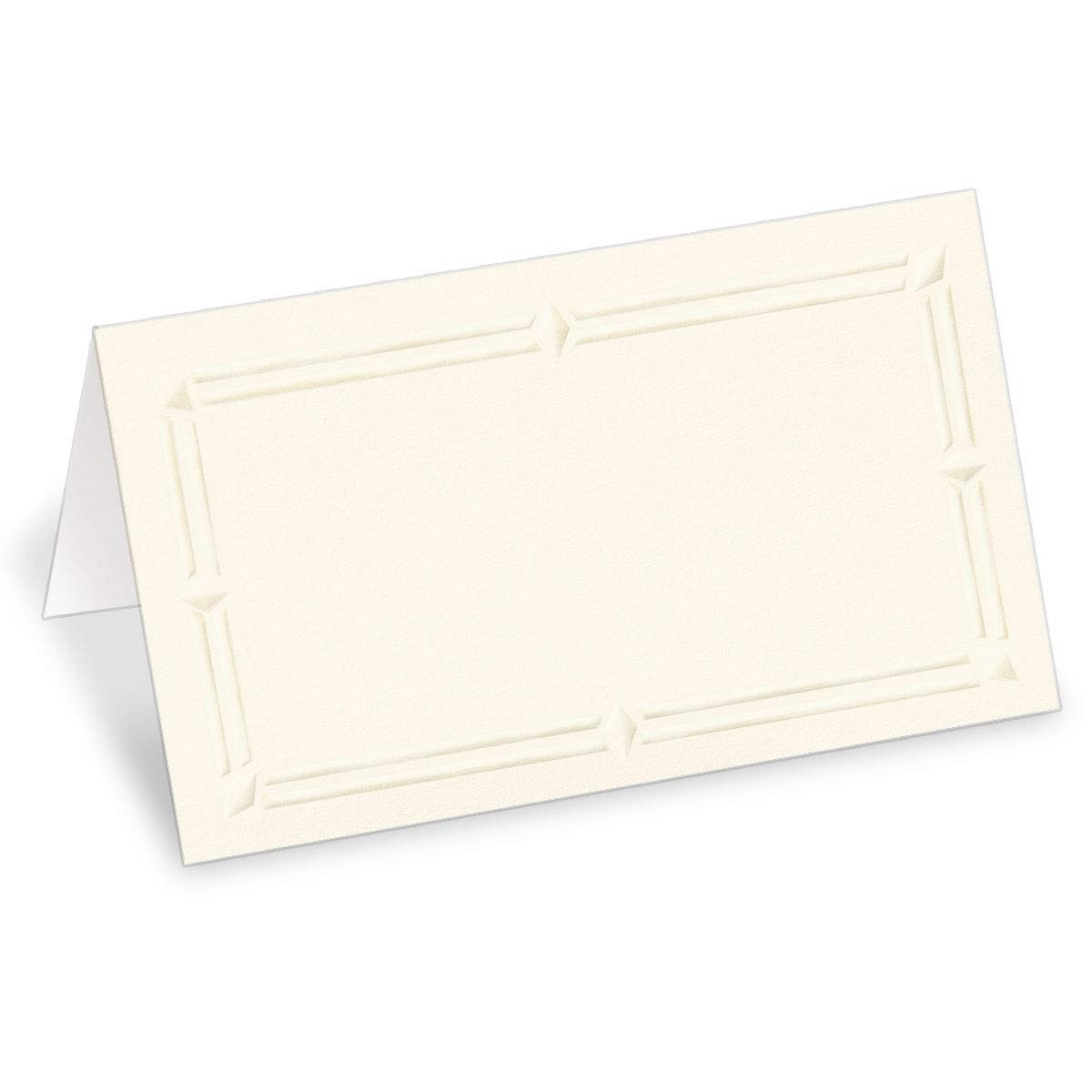 PaperDirect 38lb Cream Cover Stock Folded Place Cards with Cream Foil Border, Micro-Perforated, 2'' x 3 1/2'', 400/pack, Laser and Inkjet Compatible by PaperDirect