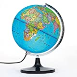PROW 12 Inch Illuminated Detailed Educational Geographic Learning 12 Inch Diam World Globe