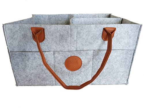 Baby Nuggets (Nugget - Extra Large Baby Diaper Caddy - Large Improved Nursery Storage Bin and Car Organizer for Diapers Baby Wipes Grey Felt Cloth Brown Accent (Adjustable) Boy or Girl Crib Changing Stand)