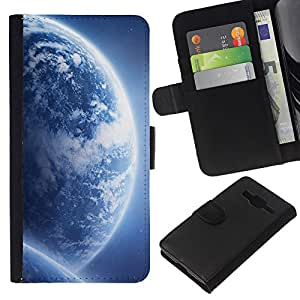 KingStore / Leather Etui en cuir / Samsung Galaxy Core Prime / Azul Planetas Universo Arte Galaxy extranjero