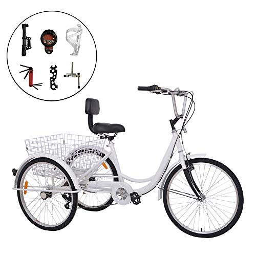 Barbella 7 Speed Adult Tricycle Three-Wheeled Bicycle with Cipher Lock, Bike Pump, Assembly Tools and Instructions to Facilitate Your Assemble 24-Inch Wheel Bicyle (7 Speed White)
