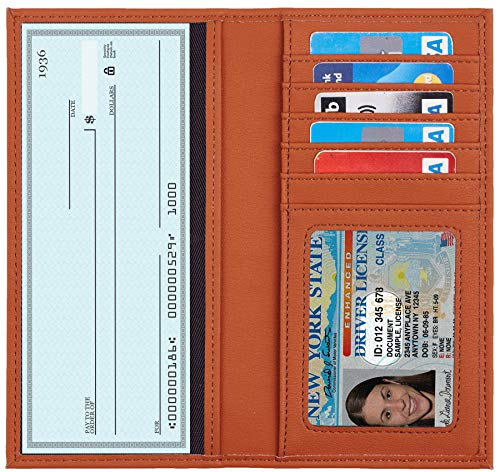 - Toughergun Genuine Leather Checkbook Cover For Men & Women Card Holder Wallet RFID Blocking (Access Tan)