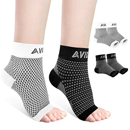 AVIDDA Ankle Brace for Men Women 2 Pairs Plantar Fasciitis Socks with Arch Support Open Toe Compression Foot Sleeve for Achilles Tendon Support Sprained Ankle Swelling Flat Feet Black & White M