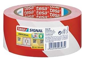 Tesa 58134-00000-00 - Cinta adhesiva de señalización temporal, color rojo/blanco