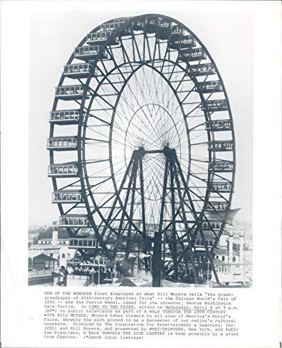 (Vintage Photos Wirephoto Come to Fairs Chicago World Fair IL Ferris Wheel Moyers 8X10)