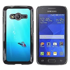 Be Good Phone Accessory // Dura Cáscara cubierta Protectora Caso Carcasa Funda de Protección para Samsung Galaxy Ace 4 G313 SM-G313F // Cute Neon Coral Fish