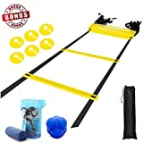 YAHEY Agility Ladder,Adjustable Training Speed Ladder 12 Rungs with 9 Huge BONUS-6 Sports Cones+Reaction Ball+Cooling Towel with Carabiner+Carring Bag,Speed Training Equipment for Many Sports