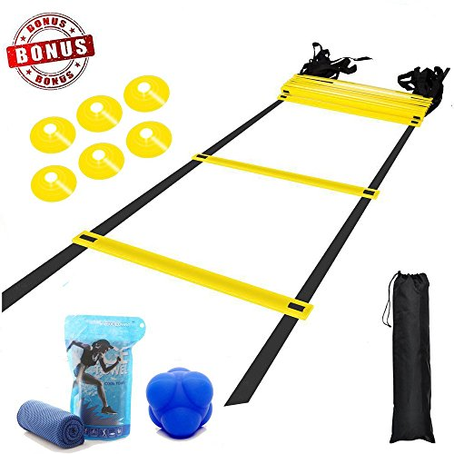 YAHEY Agility Ladder,Adjustable Training Speed Ladder 12 Rungs with 9 Huge BONUS-6 Sports Cones+Reaction Ball+Cooling Towel with Carabiner+Carring Bag,Speed Training Equipment for Many Sports by YAHEY