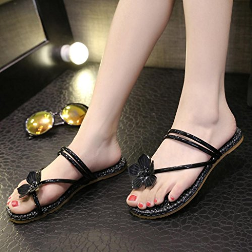 IGEMY Women Flowers Flat Heel Anti Skidding Round Toe Beach Shoes Sandals Slipper Black 8Px0Xmo