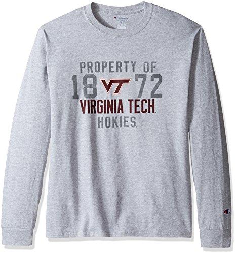 Champion NCAA Men's Long Sleeve Lightweight T-shirt Officially Licensed 100% Cotton Tagless Tee Virginia Tech Hokies Small