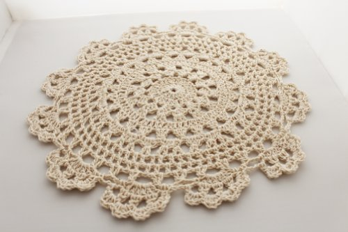 Handmade-Medallion-Crochet-Lace-Cotton-TrayclothsDoilies-8-Inch-Round-Beige-Color-Set-of-4