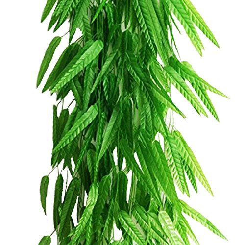 Meiliy 71 Inch Fake Green Willow Rattan Artificial Green Bamboo Leaves Artificial Greenery Lvy Vine Leaves for Home Hotel Office Wedding Party Garden Decor, 10 Pack ()