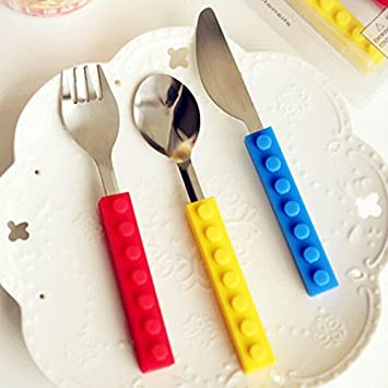 Creative Lego Bricks Silicone Stainless Steel Portable Travel Kids Adult Cutlery Fork Spoon Picnic Set Gift & Amazon.com: Creative Lego Bricks Silicone Stainless Steel Portable ...