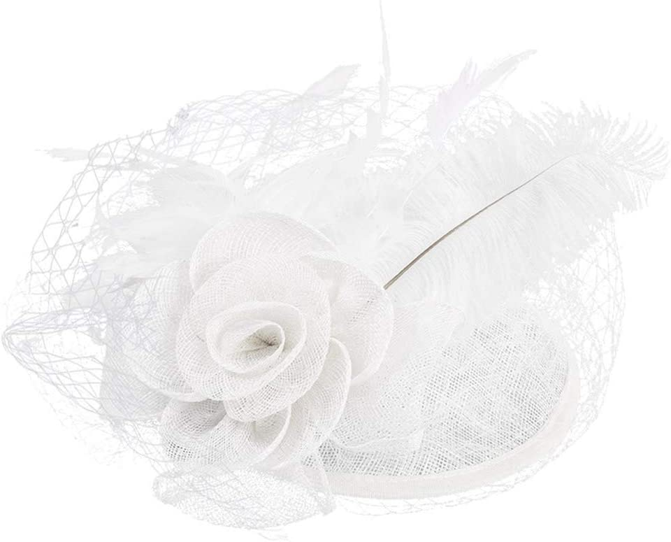 Keyren Novia de Las Mujeres del Sombrero del Banquete de Boda Velos del Cordon Sombreros Formales Pinza de Pelo con la Pluma