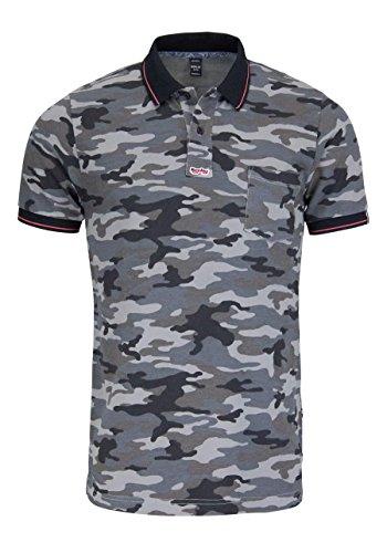REPLAY Halbarm Poloshirt geknöpfter Kragen Muster schwarz/grau