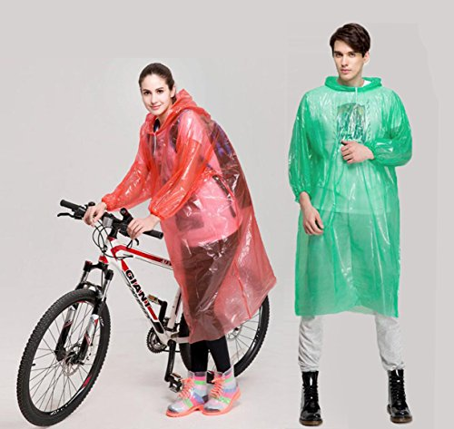 QH Emergency Rain Ponchos for Adults Disposable, Portable Rain Poncho with Hood Sleeves and Drawstring, Mens/Womens/Kids Poncho(One Size Fits All) for Disney, Cycling, Fishing