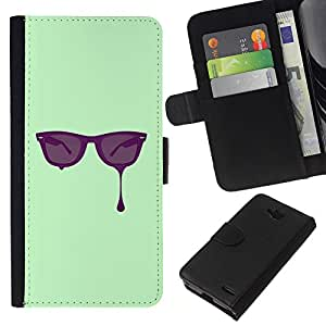 All Phone Most Case / Oferta Especial Cáscara Funda de cuero Monedero Cubierta de proteccion Caso / Wallet Case for LG OPTIMUS L90 // Glasses Paint Art Eyes Purple Painting Drawing