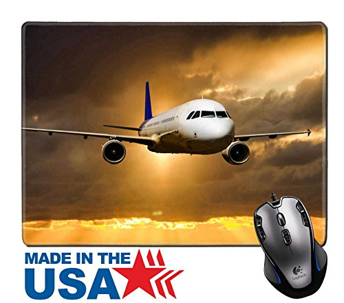 "MSD Natural Rubber Mouse Pad/Mat with Stitched Edges 9.8"" x 7.9"" IMAGE ID: 34890808 A passenger plane flying in the sky against the backdrop of a colorful ()"