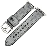 REZERO Bridle Leather Watch Strap Replacement for Apple Watch 44mm 40mm 42mm 38mm Series 4 3 2 1 iWatch Watchbands Compatible with Apple Watch Band (Grey+Silver Buckle, 38mm)