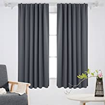 Deconovo Room Darkening Back Tab Thermal Insulated Blackout Curtains 52W x 63L Inch One Pair Dark Grey