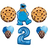 Cookie Monster #2 Two 2nd Second Happy Birthday Balloon Party Set Sesame Street by Anagram