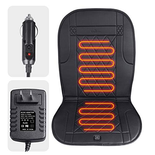 KINGLETING Heated Seat Cushion with Pressure-Sensitive Switch,for Car,Truck,Office Chair(12Volt,Black) (Seat Office Chair Warmer)