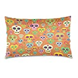 ALAZA Mexican Sugar Skulls Orange Flower Cotton Lint Pillow Case,Double-sided Printing Home Decor Pillowcase Size 16''x24'',for Bedroom Women Girl Boy