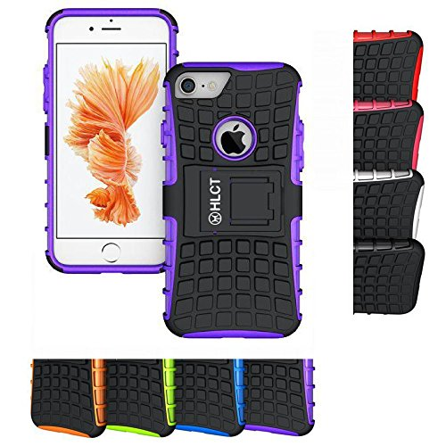 Price comparison product image iPhone 7 Case,  HLCT Rugged Shock Proof Dual-Layer Case with Built-In Kickstand for iPhone 7 4.7 Inch (Purple)