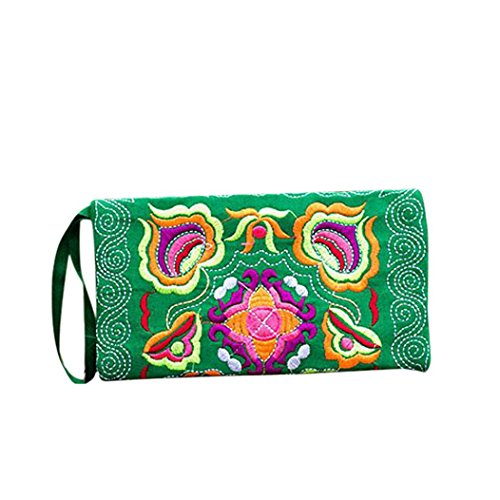 Embroidered Coin Purse - DZT1968 Women's Embroidered Cloth Long Card Holder Handbag Phone Wallet With Strap (Green)