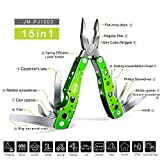 JAKEMY 9 Tools 15 Functions in 1 Multitool Portable Folding Pocket Knife Pliers Screwdriver Cutter Stainless Steel Survival Tool