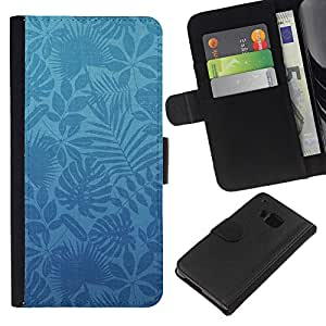All Phone Most Case / Oferta Especial Cáscara Funda de cuero Monedero Cubierta de proteccion Caso / Wallet Case for HTC One M7 // Wallpaper Blue Plants Nature Modern Art