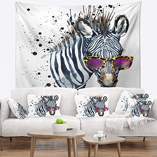 Designart TAP13462-32-39 ' Funny Zebra Watercolor' Animal Blanket Décor Art for Home and Office Wall Tapestry Medium: 32 in. x 39 in. in ()