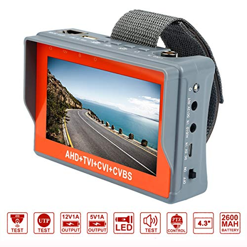 Electop 4.3 Inch Wrist CCTV Camera Tester 4 in 1 1080P Portable Camera Tester AHD TVI CVI CVBS Tester TFT LCD Analog Video Test Cable Test PTZ Control 12V Power Output