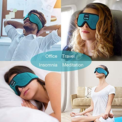 MUSICOZY Sleep Headphones three-D Bluetooth 5.0 Wireless Headband Sleep Mask, Sleeping Headphones Music Eye Mask for Side Sleepers. Air Travel, Built-in Ultra Thin Speakers Microphones Noice Cancelling