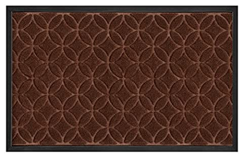 """Door Mats for Your Entryway, Indoor or Outdoor; Doormat has Non Slip Rubber Backing, Coffee Colored Rug With Circle Pattern, 29"""" x (Waterhog Indoor Outdoor Rug)"""