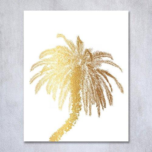 Metallic Palm Tree Table Decor (Palm Tree Gold Foil Decor Wall Art Print Island Tropical Metallic Poster 8 inches x 10 inches C21)